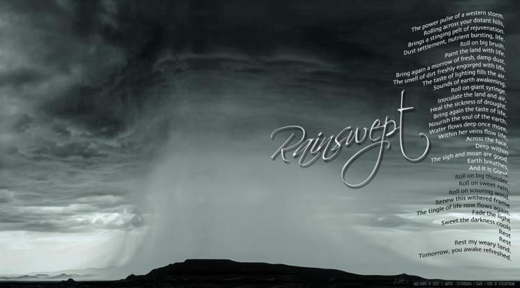 Rainswept, poem and eLITHOGRAPH